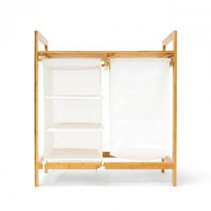 panier coffre linge tag re en bambou avec sac 77 x 70 cm 3213054 achat vente panier a. Black Bedroom Furniture Sets. Home Design Ideas