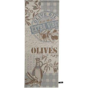 COUVERTURE - PLAID Tapis de cuisine Olives Bleu 80x200 cm - Tapis fac