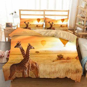 HOUSSE DE COUETTE SEULE Parure de lit La couple de girafe romantique 200*2