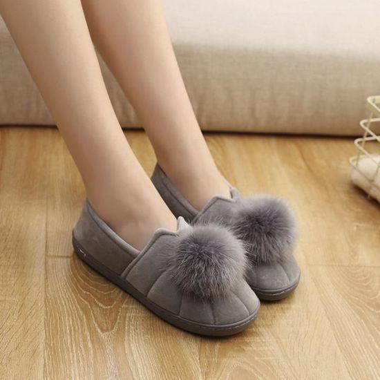 D'intérieur Anti Hiver Soft Chaussures Deuxsuns®femmes Pantoufles Femmes Enceintes slip Hairball qSzpGVUM