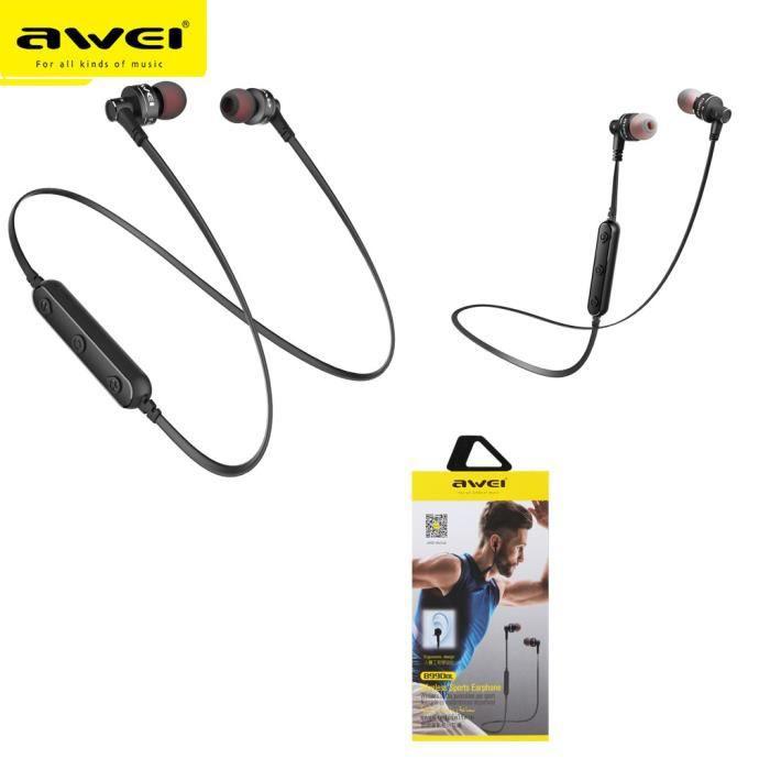 Awei B990bl Ipx4 Bluetooth Étanche Double Conducteur Aimant Dans L'oreille W - Mic @yunsoel5005