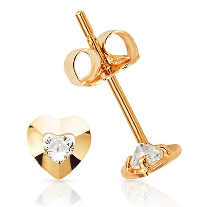 Extra Small Coeur Boucles doreilles de femmes avec un blanc simple Cz centre en or jaune 14K HFQU9