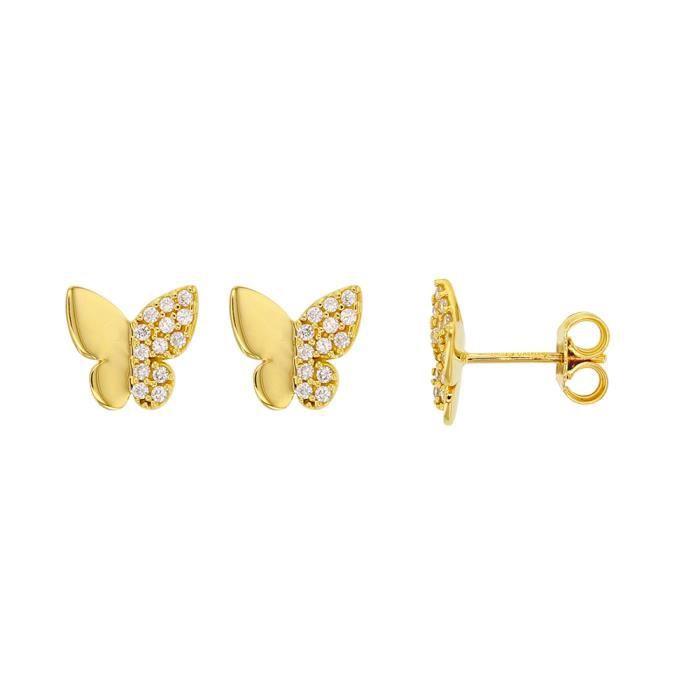 Jouailla - Boucles doreilles papillon en Or 375-1000e avec une moitié pavée doxydes de zirconium (393383)