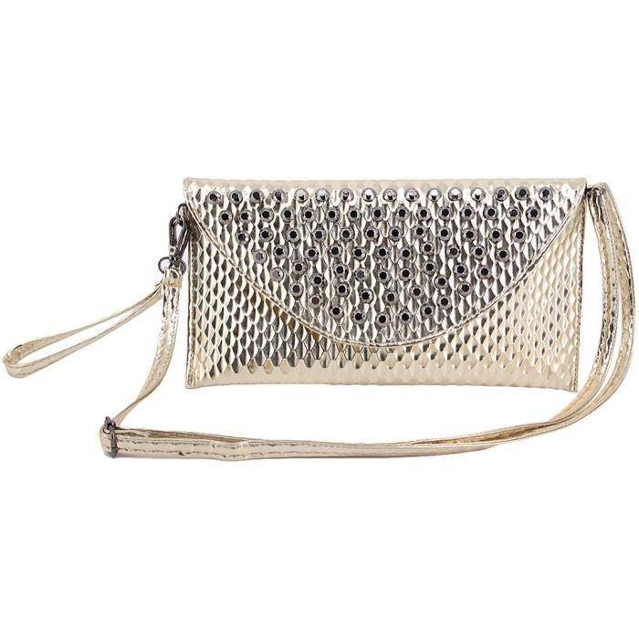 Brillant Pu Soirée de bourse en cuir sac à main Enveloppe Sac à bandoulière Sac à bandoulière Y8ETV