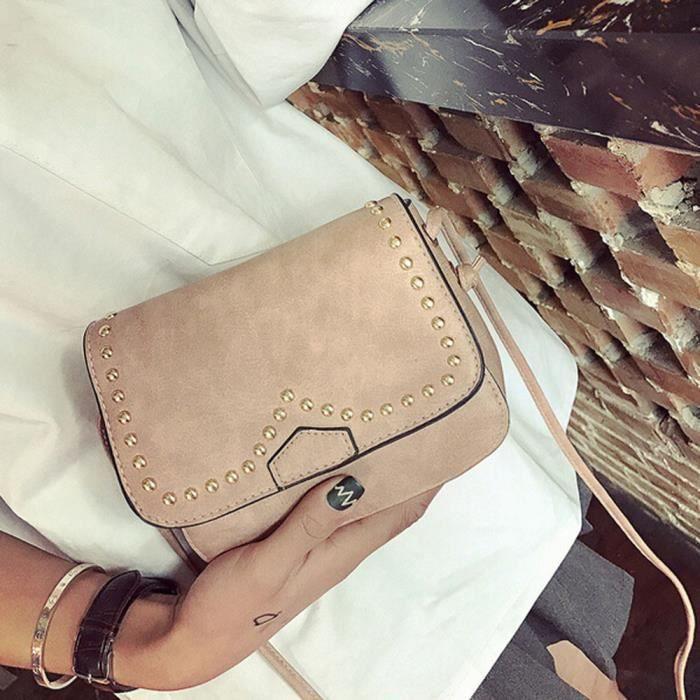 Fosenme CQQ70317342PK Mode féminine en cuir Rivet Sac à bandoulière épaule Messenger Sac de téléphone Coin