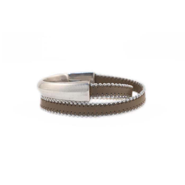 Bracelet femme avec lanière cuir César Marron Chaîne Argent