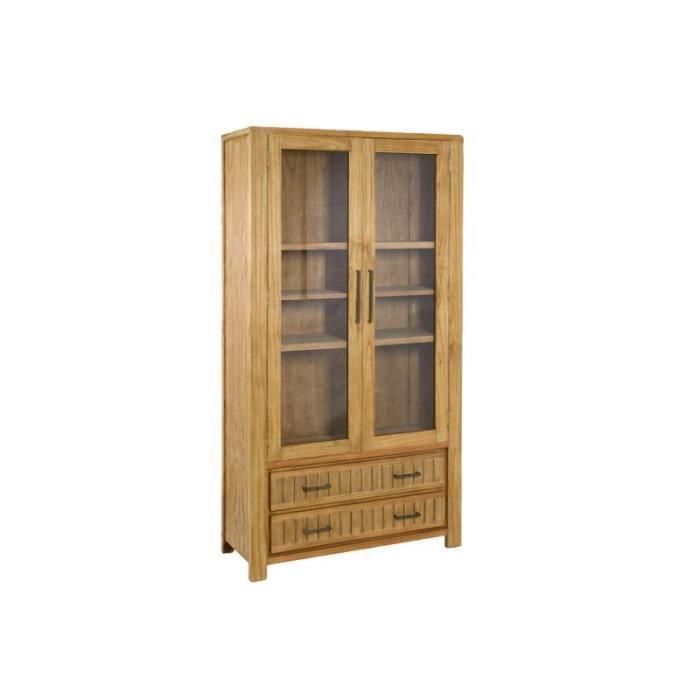 Vitrine de salle à manger en bois exotique clair 100x40x190cm ...