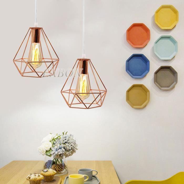 Exbon 1pcs Suspension Forme Diamant Lustre Or Rose Lampe De Plafond