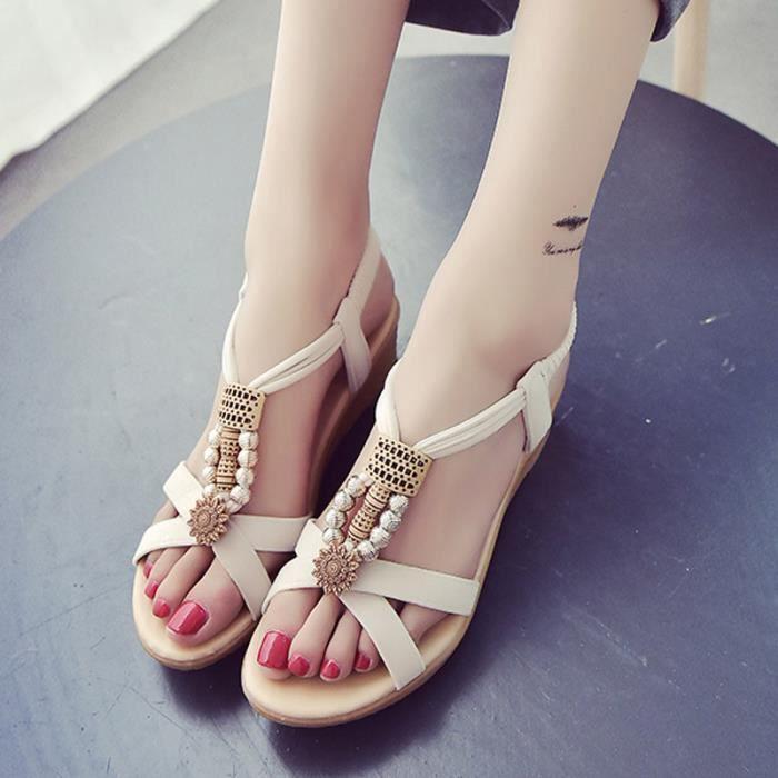 Sandales Wedge Chaussures Femme Beige (vérification de la taille) BxjkXLTVU