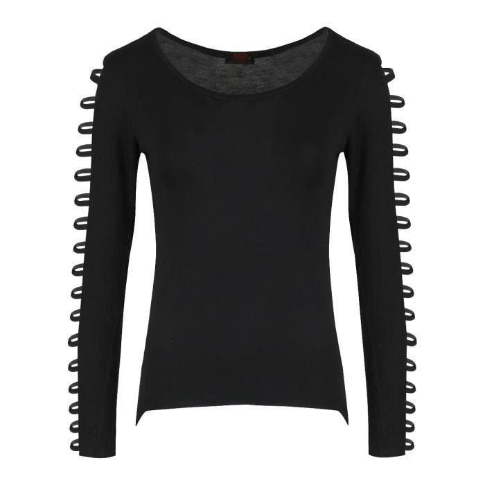 39b6543a789a9 Un top Spiral Gothic Elegance noir pour femme avec manches à brides ...