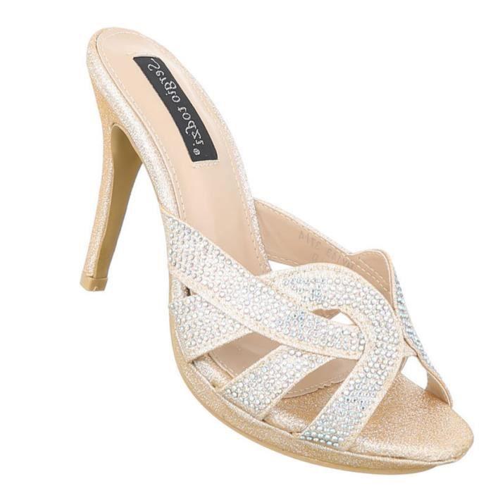 femme sandalette chaussure High Heels escarpin or hJjig