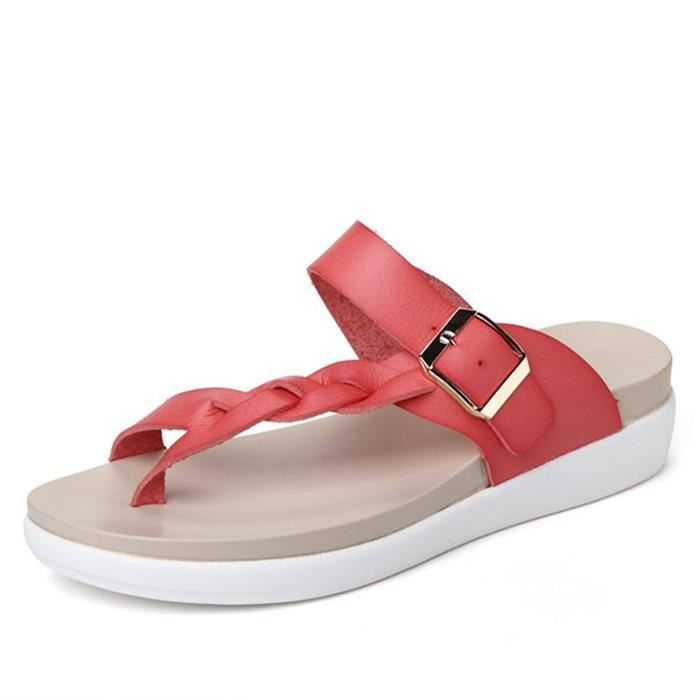 Minetom Femmes Été Antidérapant Respirant Boucle Clip Toe Sandales Chaussons T-Sangle Flip Flops Tongs Chaussures Plage ZhX6Qn