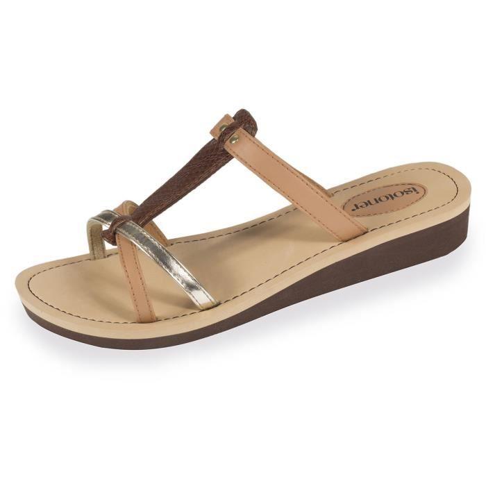 ac5a3276666c Tongs femme marron doré Camel - Achat / Vente tong - Soldes d'été ...