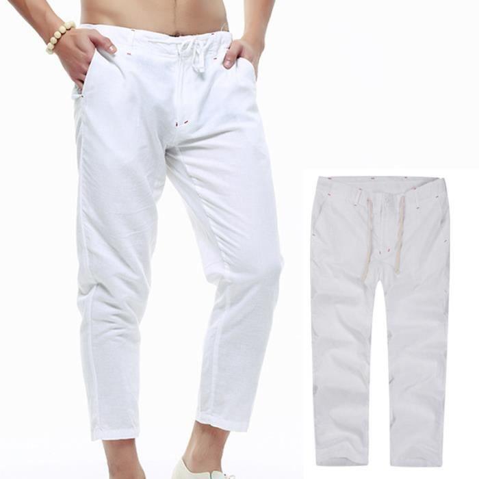 Pantalon Homme XXL baggy Pantalon en lin Pantalon grande taille ... 57e858e2b616