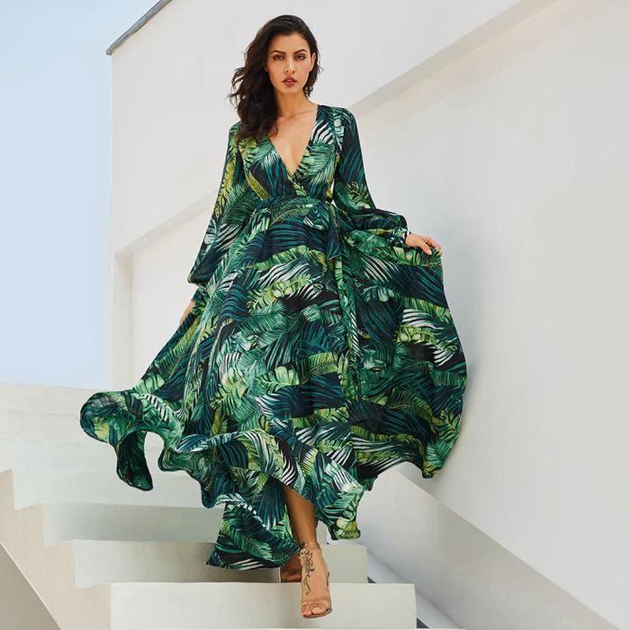 nouveau produit c3210 20eb0 Femmes Robe longue en mousseline de soie d'impression Mode manches longues  col en V profond Ceinture Robe longue @vert