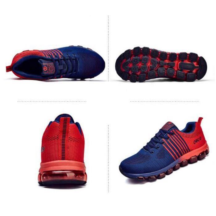 Basket Homme Chaussures Tout coussin d'air Haute qualité Voler un tissu tissé Chaussures de sport Bleu Rouge pQpzDbVy