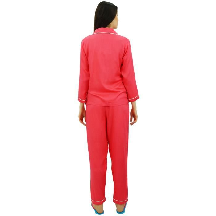 Manches Longues Chemise Pêche À Pyjama Pantalon 2 Ensemble De Élastique Taille Vêtements Pièces Boutonnée Avec Nuit Bimba Hwx7dq47
