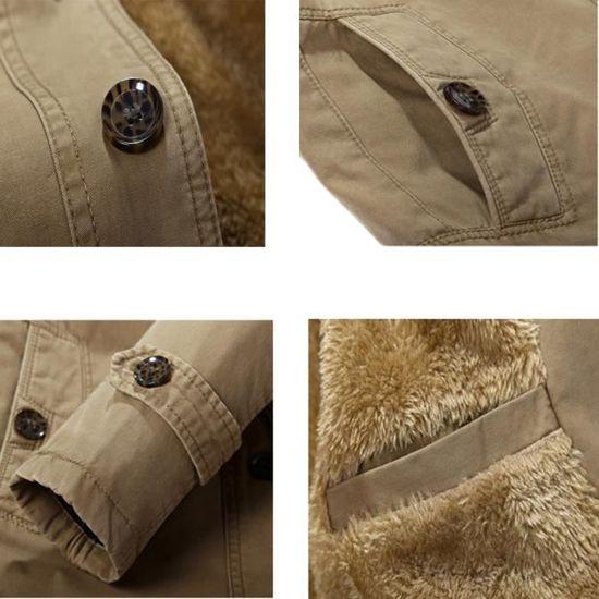 Hiver Plus De Epaississant A Manteau Homme Vêtement La Et Mode En Velours Masculin Kaki TwqwE08xU