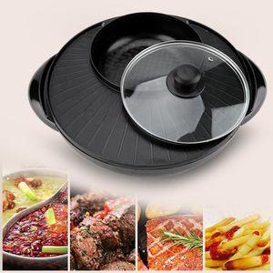 POÊLE ÉLÉCTRIQUE 1500W 2 en 1 Poêle Électrique Hot Pot BBQ Friture