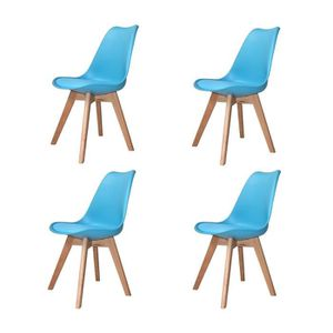 CHAISE PACK 4 CHAISES NEW TOWER WOOD COULEURS AZUL PASTEL