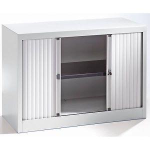 ARMOIRE DE BUREAU Bisley Armoire à rideaux - horizontal, gris clair