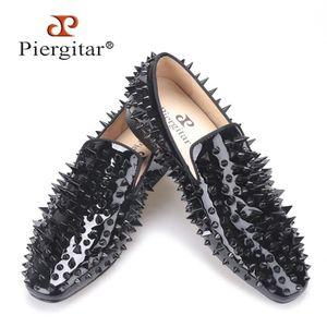 MOCASSIN 2017 Nouveau cuir verni noir hommes main chaussure