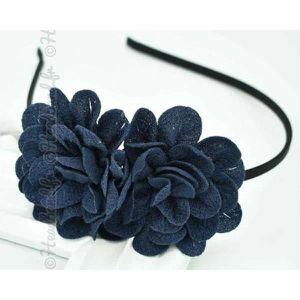 BANDEAU - SERRE-TÊTE Serre-tête double fleur bleu marine a43867bc8d3