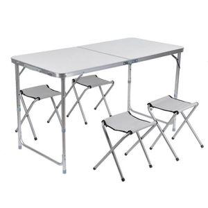 TABLE DE CAMPING 1Table Pliant+ 4 Chaises Pliablesensemble Léger Po