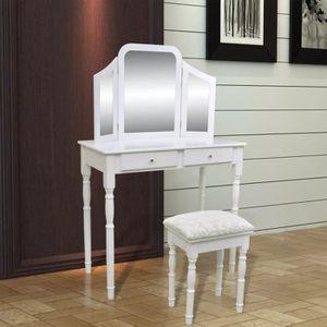 COIFFEUSE Coiffeuse avec miroir et tabouret 2 tiroirs Table