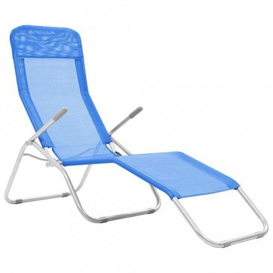 Pliable Bains Soleil Pivotant 2 Longue Bleu Pcs Avec De Chaise Textilene Cadre OPZn0wN8kX