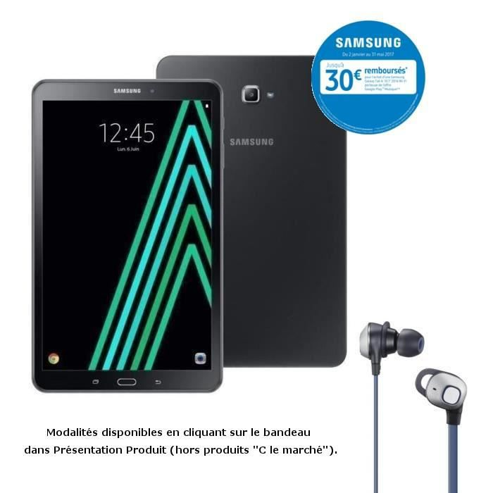 Samsung Galaxy Tab A6 10,1''- 2Go RAM - Android 6.0 - Octo Core - ROM 16Go - WiFi/Bluetooth + écouteurs Knob filaires offerts