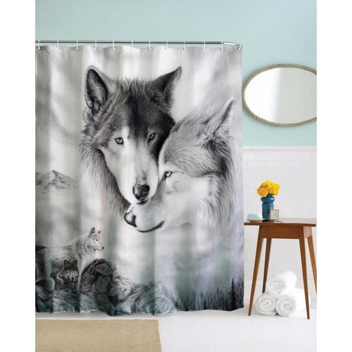255 rideau no douche loup blanc noir couples animaux tissu. Black Bedroom Furniture Sets. Home Design Ideas