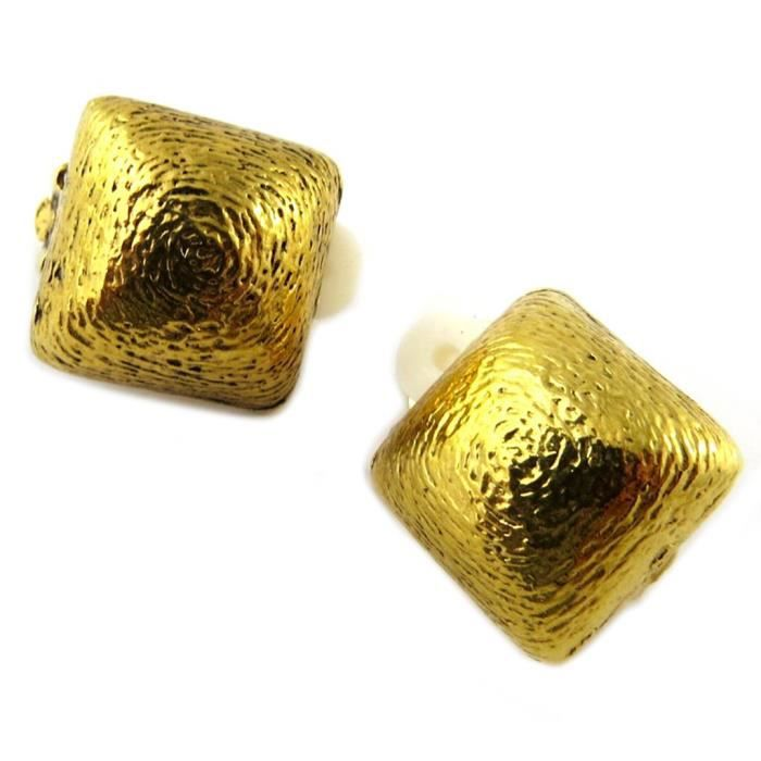 Clips doreilles artisanales Constantinople doré - 17x17 mm [P1288]