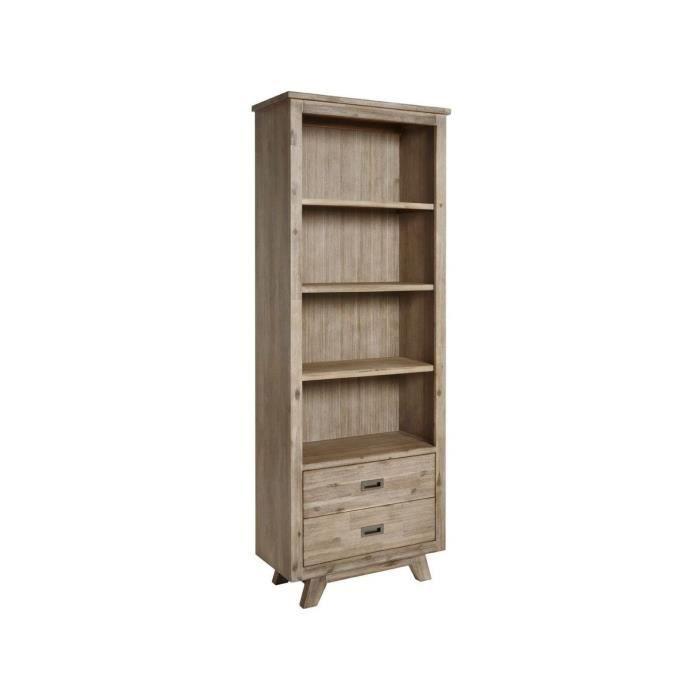 Bibliothèque contemporaine 75 cm avec 2 tiroirs en bois massif ...