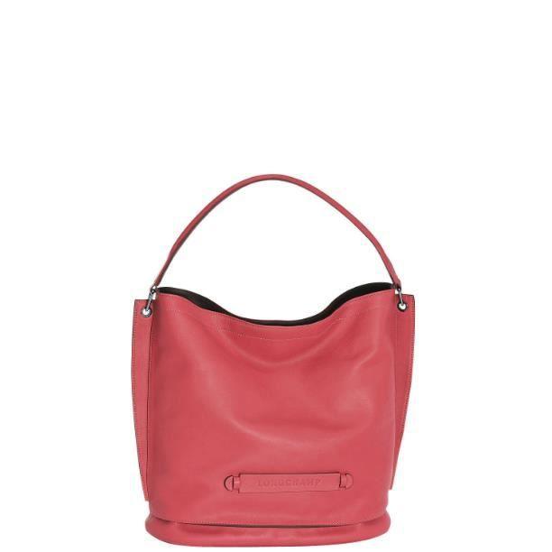 Sac Longchamp Roseau Porté épaule : Longchamp sac femme port? ?paule en cuir pivoine