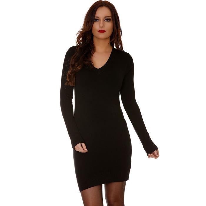 7adeffd82dc Miss Wear Line - Robe basique noire col ves classique Noir - Achat ...