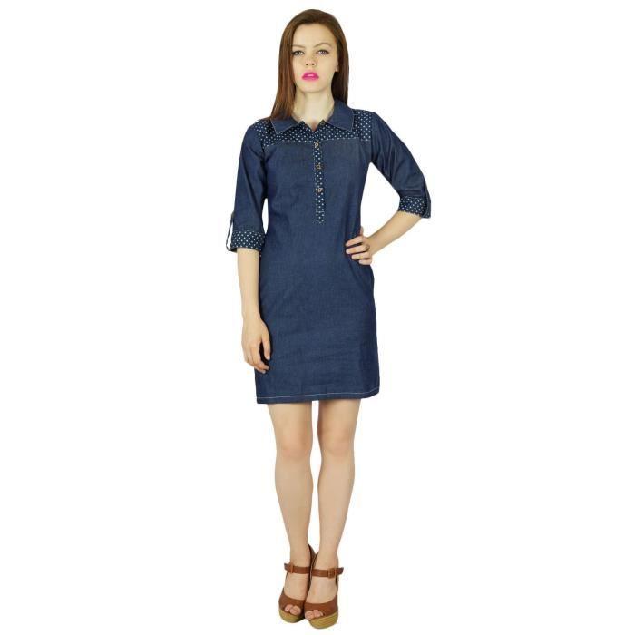 Bimba Femmes Court Thin Bleu Denim Doux Mini Robe Classique Chic Vêtements Manches 3-4, Bleu