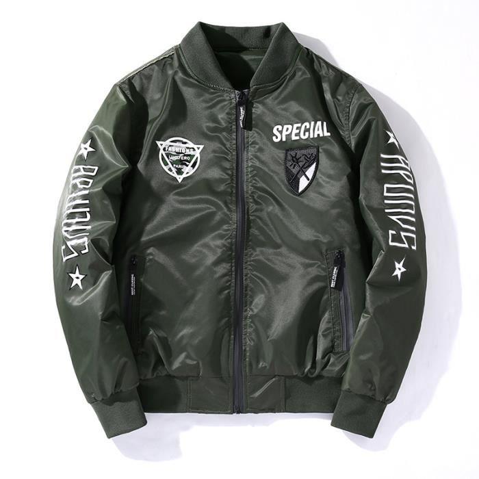 bleu Vêtements noir Col De Masculin Imprimé D'automne Aviateur Standup Vêtement Manteau Vert Homme rouge qCOwAHn