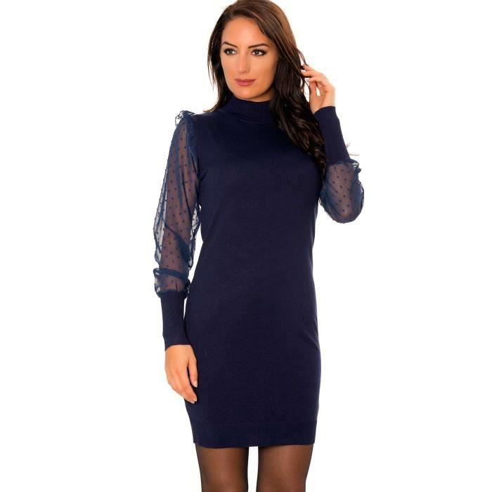 Miss Wear Line - Robe marine avec manches en voilage et motifs pois