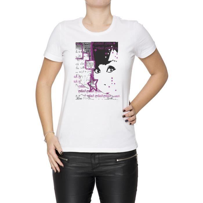5b96d2e82a21 Tee-shirt - Fille dans rose Femme Cou D équipage Blanc Manches ...