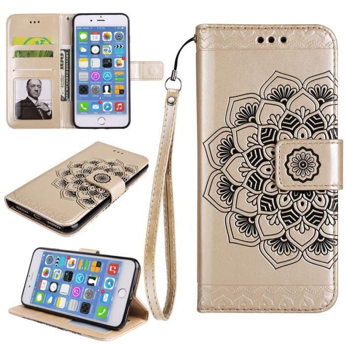 coque iphone 8 plus étui mandala à rabat folio motif design