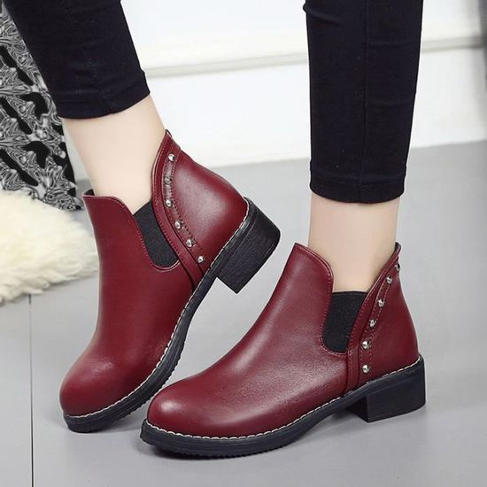 Chaussures Toe Bottines Rivets En Plates Cuir Femmes Bottes Martain Ronde Rouge DWIHeE29Yb