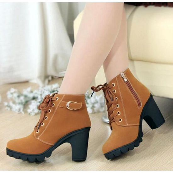 f5f08bca7ae590 Chaussures femme,Hiver Talon haut talon épais Bottines à lacets Ladies  Buckle Platform 35-40 Jaune Jaune - Achat / Vente bottine - Soldes d'été  dès le 26 ...