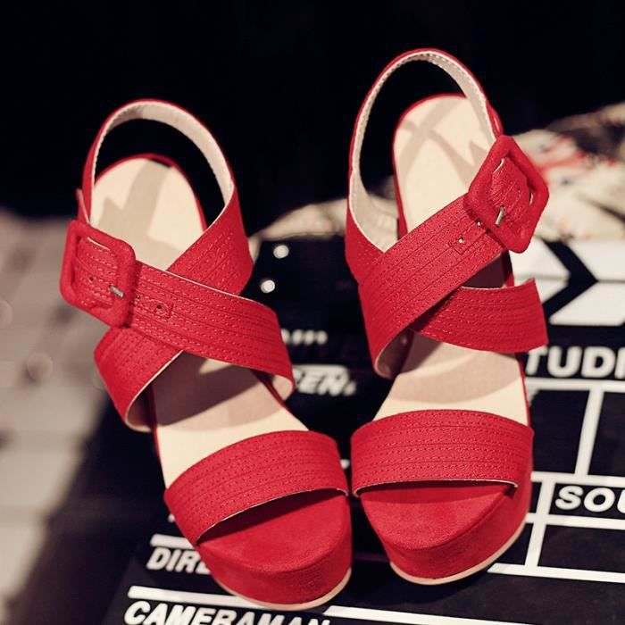 nouvelle mode minces talons hauts à bout ouvert moulantes métal boucle plate-forme de sandales de dame sexy d'été,rouge,11.5