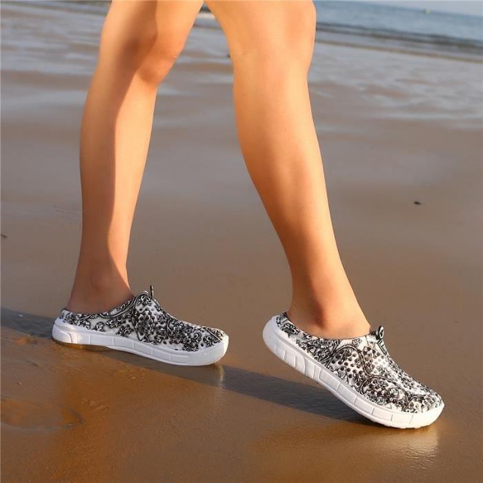 Sandale Mixte style chinois trou bleu et blanc en porcelaine Chaussons Respirant Plage bleu taille7 32YQ1