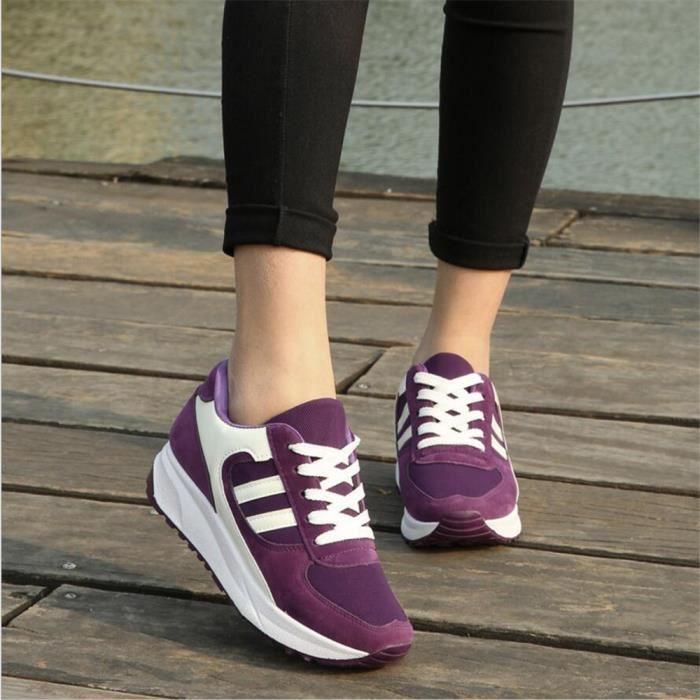 Femmes Sneaker Antidérapant Talons hauts Basket Mode Marque De Luxe Respirant Chaussures Nouvelle Mode Plus Ta dssx085violet40 ISbCkrSWv