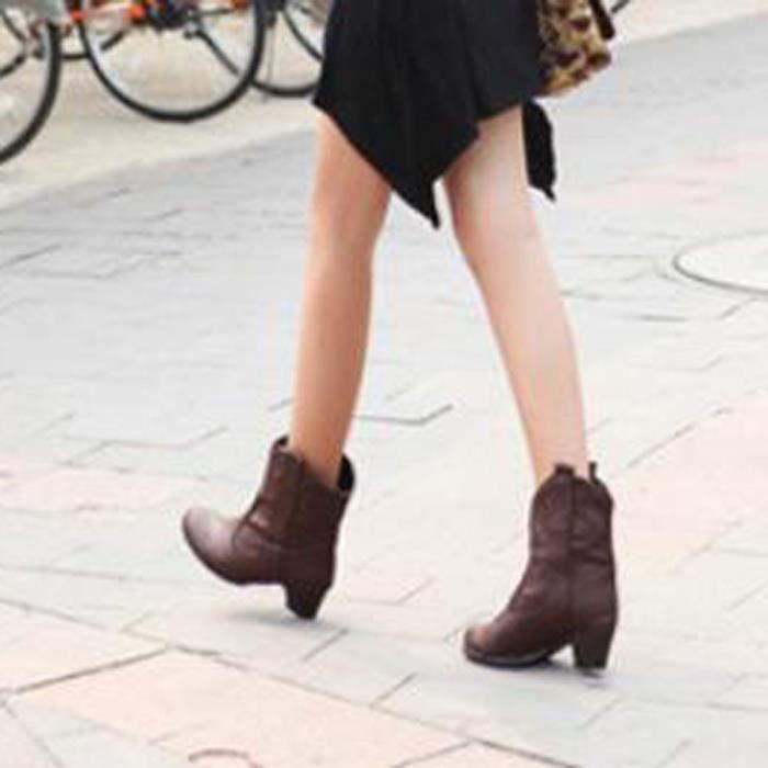 Chaussures Cuir En yunsoel5748 Femme Femmes Bottes Mode Épais Haut Talon Bottines Avec Les qwaUnIA