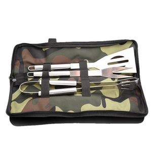 PLUMEAU - DEPOUSSIÉRANT Grilling Tool Set Three-piece camouflage bag (fork