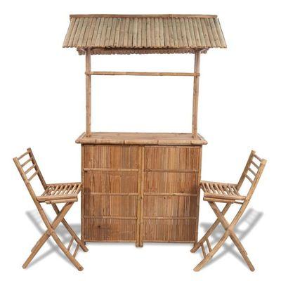 Bar d\'extérieur en bambou 2 tabourets inclus