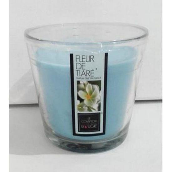 Bougie 3 mèches 500 g parfum Fleur de Tiaré avec vase en verre ...